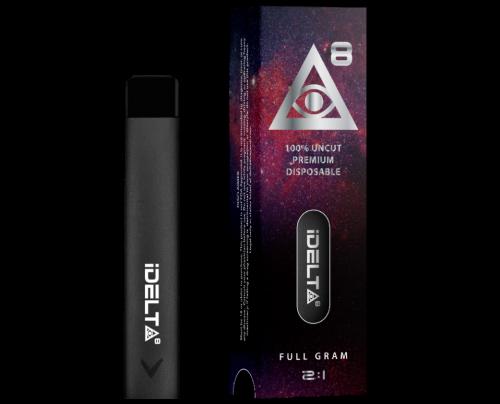 Delta 8 THC Disposable Vape Pen Silver by iDELTA8 + CBD - Full Gram 2:1 Ratio