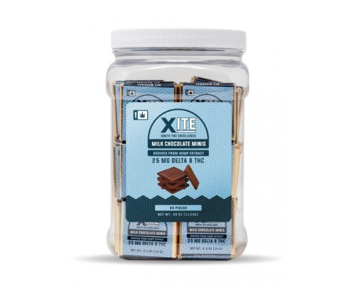 XITE Delta 8 THC Milk Chocolate Minis Edibles | Patsy's Candies 80 Piece Tubs - FREE Shipping!