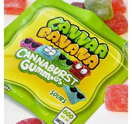 Delta 8 THC Candy  | Cannaa Banana Cannaburst Gummy Sours - 600mg - FREE Shipping!