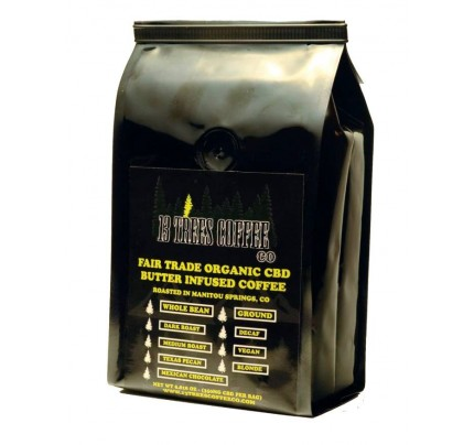 CBD Coffee Beans - 13 Trees Organic CBD Butter Infused Whole Beans