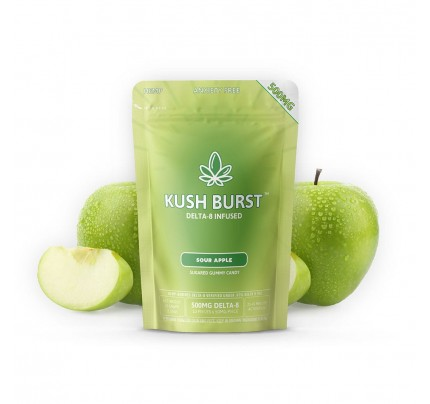Delta 8 THC Gummies - Kush Burst Sour Apple 50mg per Gummy - FREE Shipping!