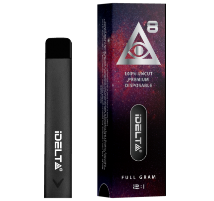 Delta 8 THC Disposable Vape Pen Silver by iDELTA8 + CBD - Full Gram 2:1 Ratio